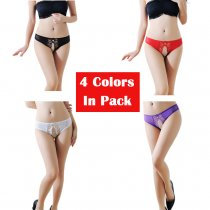 Women's 4 Colors Pack Sexy Floral Mesh Crotchless Panties G-String Thong Lingerie Underwear