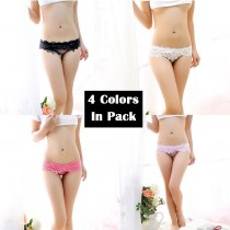 Sexy Lace Underwear 4 Colors Pack Cute Breathable See-Through Floral Panties Perfect Gift For Women