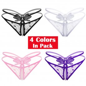 Women's 4 Colors Pack Sexy Massage Pearl G-String Thong Lace T-Back Panties Underwear