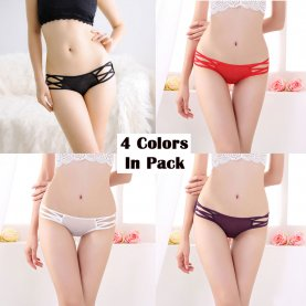 Women's 4 Colors Pack Classic Low Waist Hipster Fashion Panties Shapewear Brief Gifts For Women