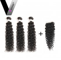 Brazilian Virgin Hair 3 Bundles With Lace Closure Water Wave