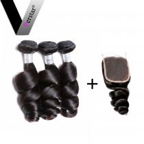 Perstar 9A Brazilian Loose Wave Bundles With 4*4 Lace closure 100% Unprocessed Remy Top Quality Extensions