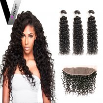 Perstar 9A Water Wave Bundles With 13*4 Lace Frontal Closure Brazilian Virgin Unprocessed Human Hair Bundles With Extensions