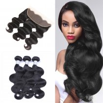 Perstar 9A Brazilian Virgin Body Wave Human Hair Bundles With 13*4 Lace Frontal 150% Density