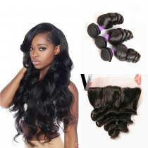 Perstar 9A Brazilian Loose Wave Bundles With 13*4 Lace Frontal Closure Virgin Unprocessed Human Hair Make Top Quality Human Hair Extensions