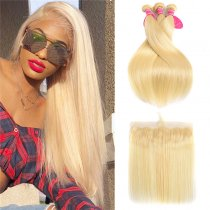 Perstar Virgin Hair Extension 613 Blonde Straight Hair 3 Bundles With Lace Frontal