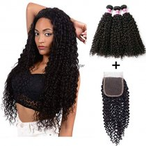 Perstar kinkys curly 3 bundles with closure brazilian virgin hair extension 8A bundles with 4 4  lace closure free part