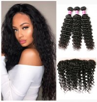 Perstar 9A Brazilian Human Hair Deep Wave Bundles With13x4 Lace Frontal