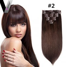 Perstar 8A Straight Clip in Hair Extensions Remy Medium Brown Brazilian Human Hair Extensions 8 Pieces 18Clips