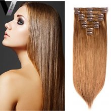 Perstar Straight Clip in Hair Extensions 8 Pieces 18 Clips 8A Light Chestnut Brown Remy Brazilian Human Hair Double Strong Weft