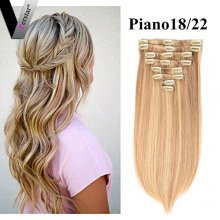 Perstar 8A Straight Clip In Hair #18/22 Ombre Brazilian Human Hair 8 Pieces 18 Clips Double Strong Weft For White Women