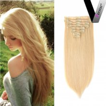 Perstar 9A 8 pieces 18 clips Blonde Straight Clip in Hair Extensions #613 Remy Brazilian Silky Straight Human Hair Clip in Extensions