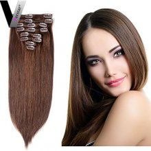 Perstar 9A Straight Hair Brazilian Virgin Clip In Hair Extensions 8 Pieces 18 Clips Double Strong Weft Remy Medium chestnut Brown Crochet Human Hair Extensions