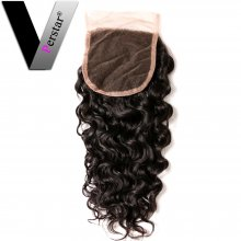Perstar Virgin Water wave lace Closure Unprocessed Brazilian Water Wave Human Hair 4*4 Free Part Lace Closure