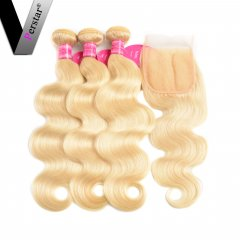 Perstar 9A 613 Blonde Body Wave Brazilian Virgin Human Hair 3 Bundles With Free Part 4x4 Lace Closure