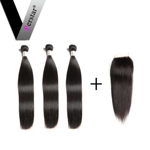 Perstar 9A Brazilian Straight Hair Bundles With Free Part Lace Closure Virgin Unprocessed Crochet Double Weft Superior Human Hair Extensions
