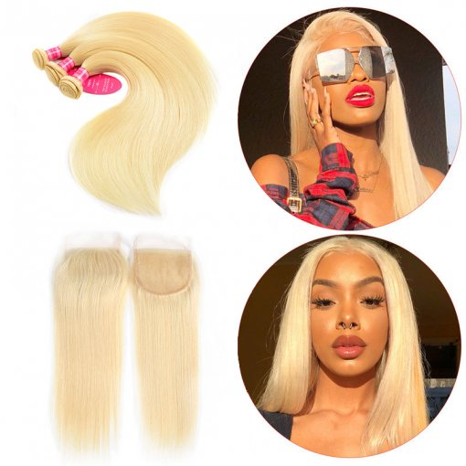 Perstar Brazilian 613 Blonde Straight Hair 3 Bundles With Closure 100% Virgin Human Hair
