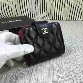 シャネル 財布 カードケース 名刺入れ chanel ラムスキン ブラック シルバー金具 31505-1