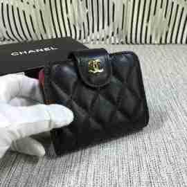 シャネル 財布 カードケース 名刺入れ chanel ラムスキン ブラック ゴールド金具 31505-2
