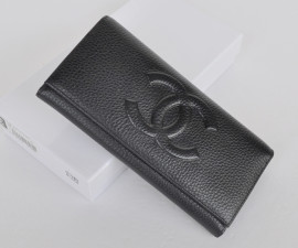 シャネルコピー財布 CHANEL 長財布 キャビアスキン ココマーク 二つ折り長財布 ブラック ch514-3