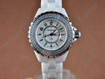 シャネルChanel J12 White Ceramic Diam /Bez Ladies Japanese Qtクオーツ