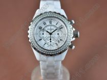 シャネルChanel J12 White Diamonds Chronograph, Full Ceramic W/Chronosクオーツストップウォッチ