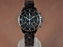 シャネルChanel J12 Black Chronograph, Full Ceramic Working Chronosクオーツストップウオッチ