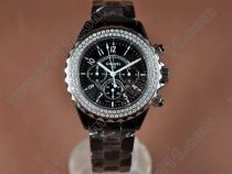 シャネルChanel J12 Black Chronograph, Full Ceramic Working Chronosクオーツストップウォッチ