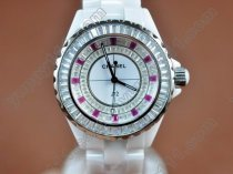 シャネルChanel J12 Joaillerie Ladies White/Red/Clear Jap Quartzクオーツ