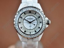 シャネルChanel J12 Joaillerie Ladies White/Black/Clear Jap Quartzクオーツ