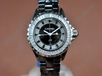 シャネルChanel J12 Joaillerie Ladies Black/Black/Clear Jap Quartzクオーツ