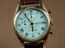 パテックフィリップPatek Philippe Classics Complications RG Case White Dial Brown Strap Japan OS20 Quartzクオーツストップウォッチ