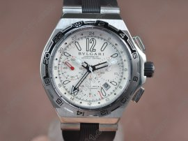 ブルガリBvlgari Diagono X-PRO Chrono GMT SS/RU White Asian 7750 Movt自動巻き