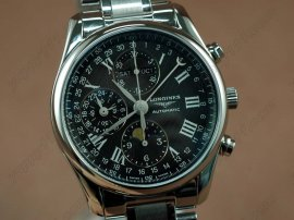 ロンジン Longines Watches Master Chrono SS/SS Black/Roman Asia 7751自動巻き