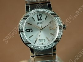 ピアジェPiaget Polo Mens SS/Diamonds Silver Swiss Eta 2824-2自動巻き
