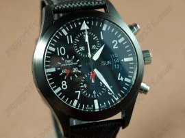 IWC Flieger Chrono 3789 Top Gun Ed PVD/NY Black A-7750自動巻き