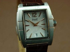 ピアジェPiaget Upstream SS Case White Dial Brown Strap Swiss Eta 2824自動巻き