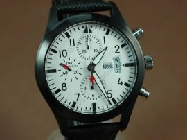 IWC Flieger Chrono 3789 Top Gun Ed PVD/NY White A-7750自動巻き