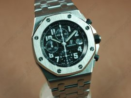 オーデマ・ピゲAudemars Piguet Royal Oak Chronograph SS/SS Black A-7750 Sec@12自動巻き