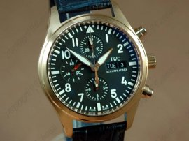 IWC Watches Pilot Chrono 3717 RG/LE Black Asia 7750自動巻き